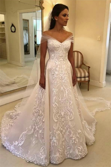 Glamorous Off Shoulder A-line Wedding Dresses    Appliques Court Train Bridal Gowns