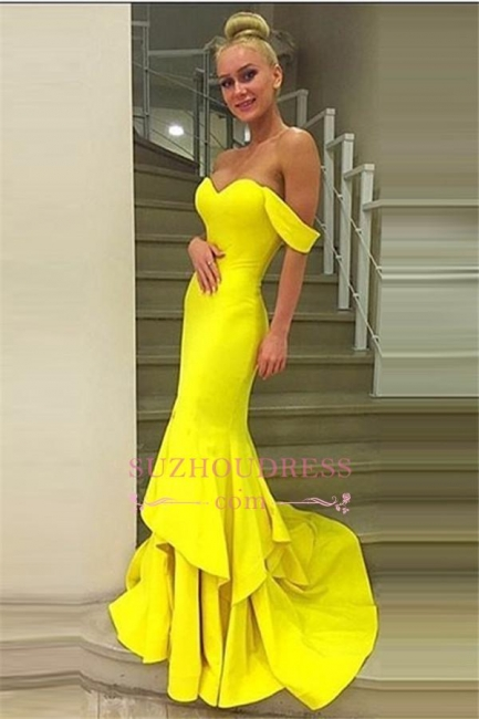 Mermaid Tiered Sweep Train Off-the-Shoulder Evening Gown  Sexy Prom Dress