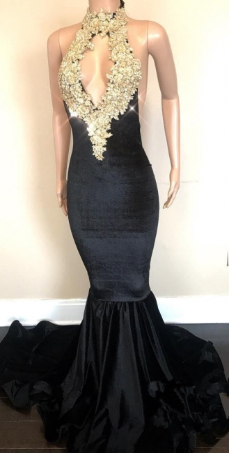 Halter Backless Sparkling Sequins Prom Dresses | Mermaid Beads Appliques Sexy Evening Gowns FB0333-MQ0