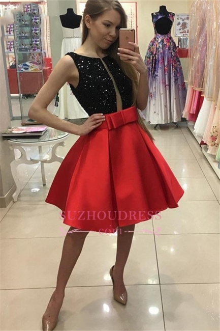 Short A-Line Bowknot Sleeveless Sequined Homecoming Dresses