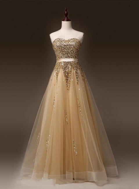 Sweetheart Organza Floor Length  Prom Dresses Sequined Gorgeous Crystal Evening Dresses