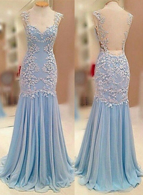 Sheer Back  Baby Blue Prom Dress Chiffon Sheath Evening Dresses