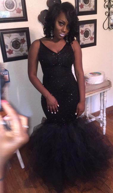 New Arrival Mermaid V-Neck Black Prom Dresses Sequins Sleeveless Evening Gowns BA8031