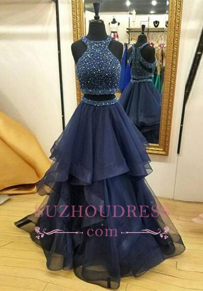 Crystals Ruffles Zipper Sleeveless Formal Dress  Jewel Modest Two Piece Prom Dress BA7248
