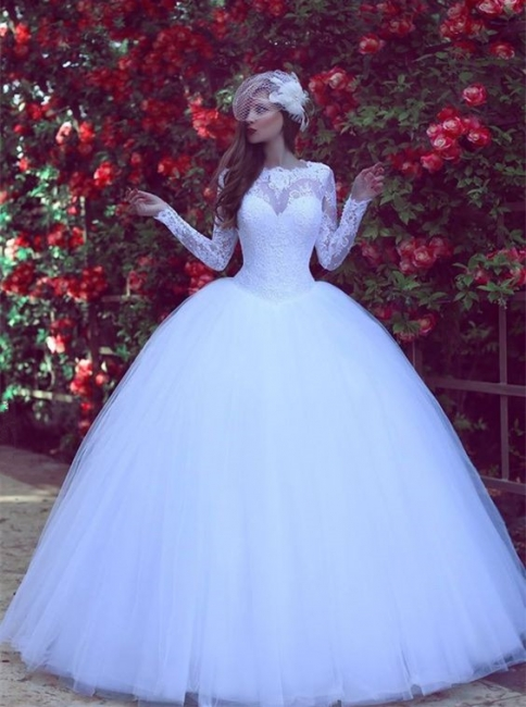 Gorgeous Long Sleeve Tulle  Wedding Dress New Arrival Lace Long Sleeve Bridal Gowns