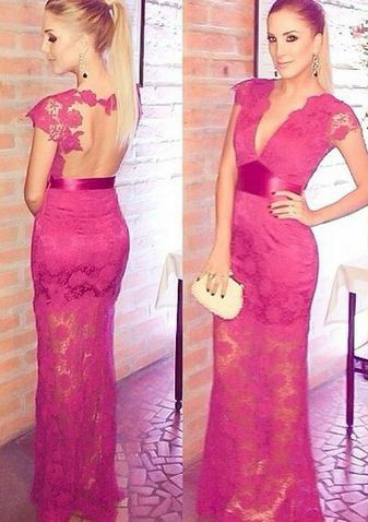 Sexy Deep V-Neck Fuchsia Lace Evening Gown Short Sleeve Empire Open Back Party Dresses