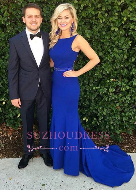 Glamorous Sweep-Train Mermaid Royal-Blue Beadings Sleeveless Evening Dress