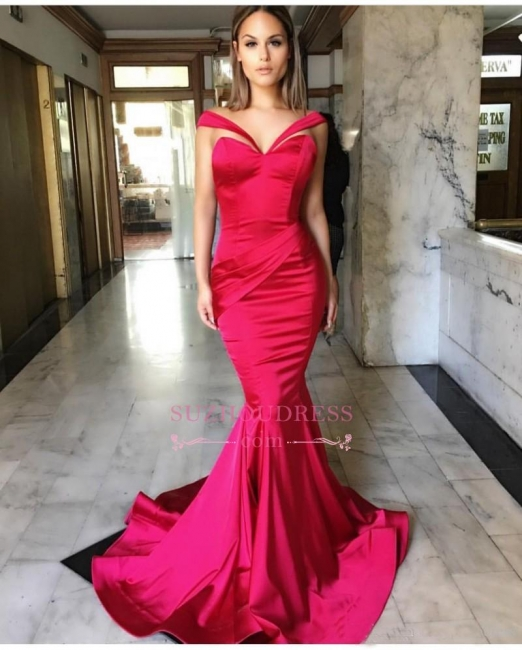 Off-The-Shoulder Mermaid Evening Gown  Sleeveless Sweep-Train Sexy Prom Dresses BA7822