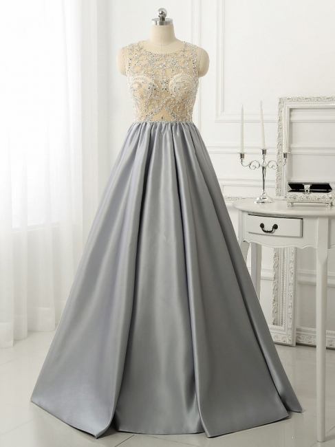 A-line Crystal Sleeveless Evening Dresses New Arrival Floor Length  Prom Gowns