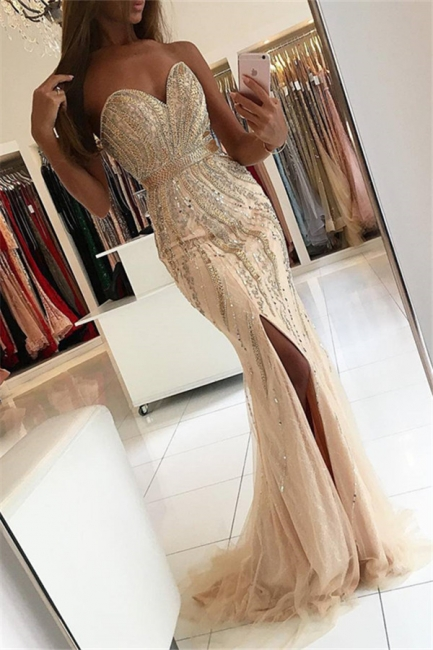 New Arrival Sweetheart Mermaid Evening Gowns  Side Slit Crystal Mermaid Prom Dresses AN0
