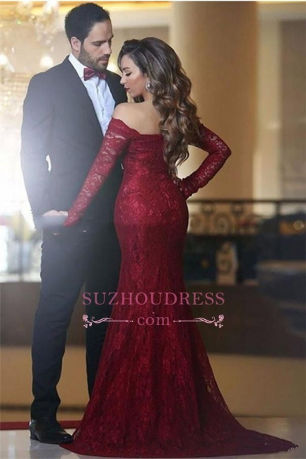 Long Sleeve Off-the-shoulder Prom Gowns Elegant Mermaid Red Lace Evening Dress BA3596