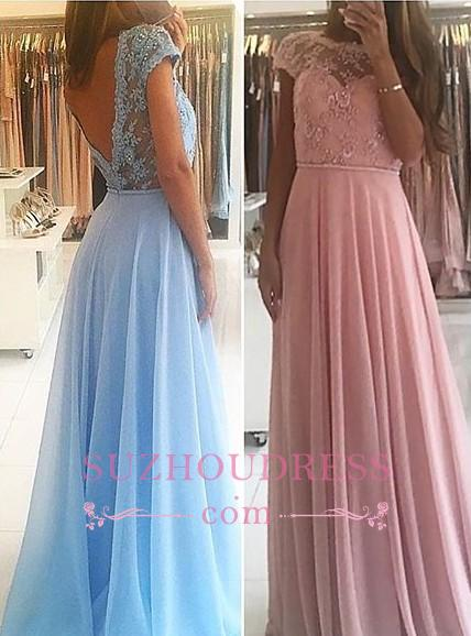 Chiffon Lace Appliques Prom Dresses  Floor Length Chic A-line Short Sleeves Evening Dress