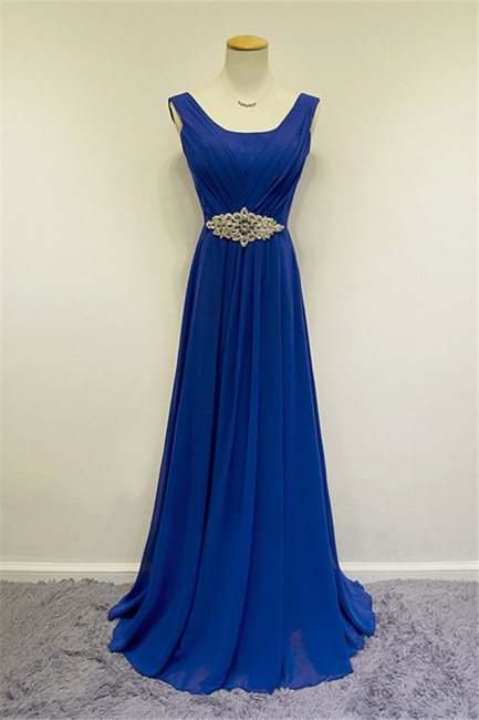Blue Chiffon Long Prom Dresses Crystal Elegant Sweep Train Popular Evening Gowns