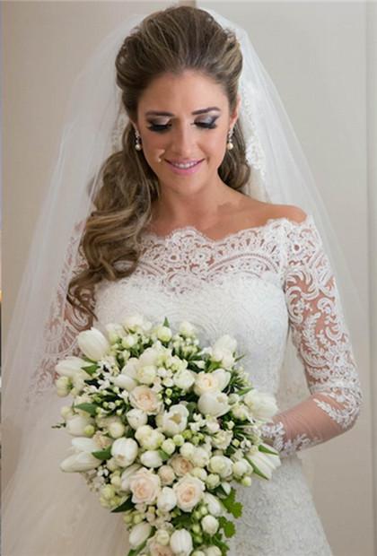 Elegant Wedding Dress long Sleeve Sweep Train Zipper Back Vestidos De Noiva Applique White Lace Wedding Dress