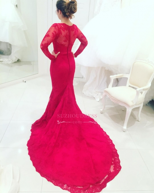 Court Train Long Sleeves Mermaid Prom Dresses Appliques High Neck Lace Red Evening Dresses