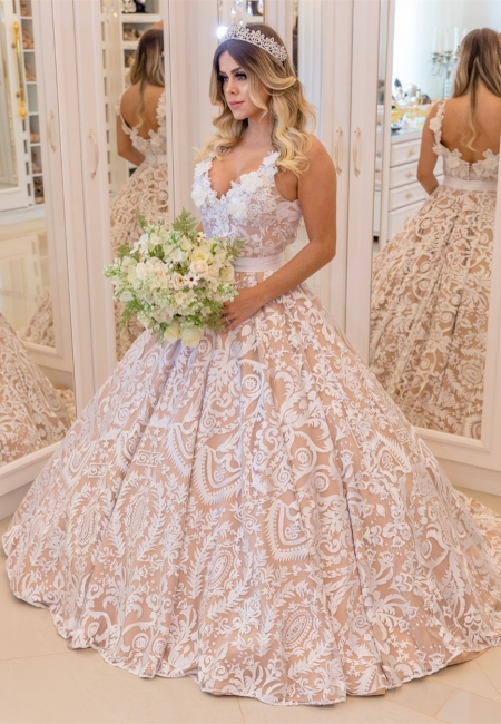 White Lace Champagne Wedding Dresses Cheap  | Sexy V-neck Open Back Puffy Bridal Gowns