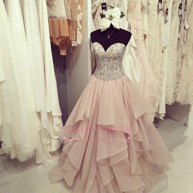 Gorgeous Floor-Length Beadings Sweetheart Ruffles Prom Dress BA4448