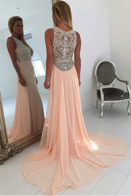 Coral Pink Chiffon Crystals Prom Dresses  Sleeveless Beading Popular Long Evening Gown