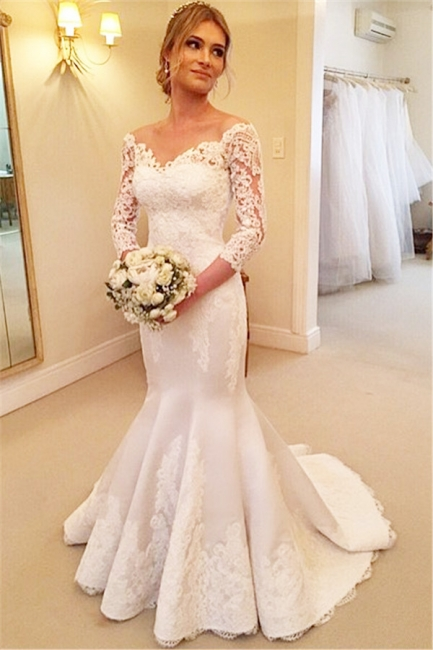 Sexy Mermaid V-Neck 3/4 Long Sleeve Wedding Dress White Lace Plus Size Bridal Gowns BA7484