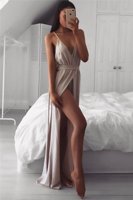 Straps V-neck Sleeveless Evening Dresses  | Side Slit Sexy Formal Dresses For Party