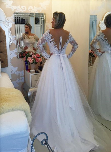Long Sleeve Lace Bowknot Wedding Dress New Arrival A-Line  Bridal Gown BMT122