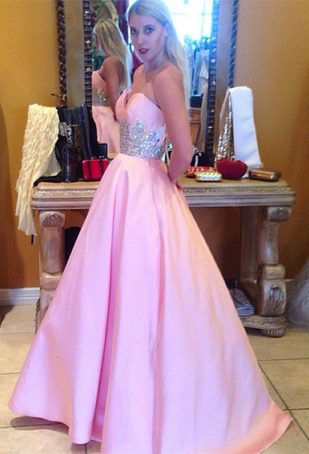 Cute Pink Sweetheart Empire Prom Dress Latest Sweep Train Formal Occasion Dress
