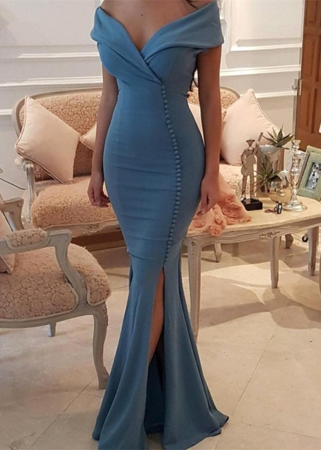 Sexy Simple Off the Shoulder Mermaid Prom Dresses  Side Slit Evening Dresses with Buttons