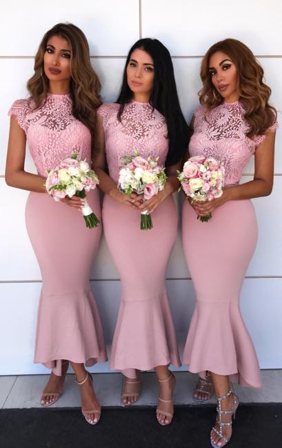 High Neck Pink Lace Bridesmaid Dresses Sexy | Cap Sleeve Mermaid Short Bridesmaid Dress  ba9241