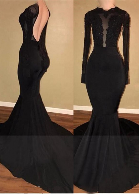 Sexy Black Mermaid Backless Prom Dresses  Long Sleeves Appliques Evening Gowns BA7880