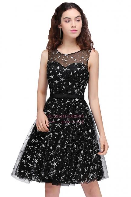 Short Modest Sleeveless Zipper A-line Belt Illusion Homecoming Dress
