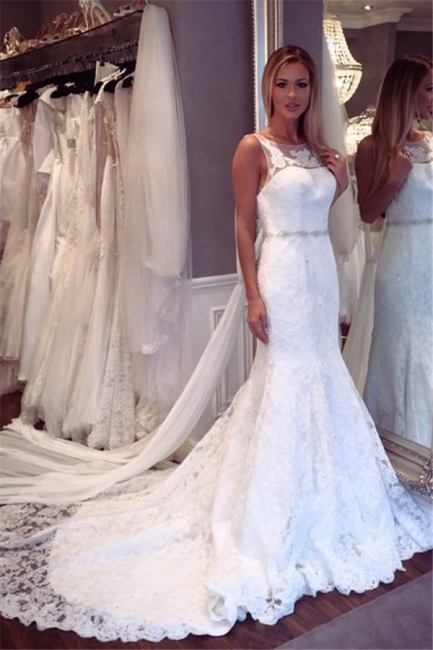 Elegant Lace Mermaid Sleeveless Wedding Dresses | Open Back Crystall Bridal Gowns