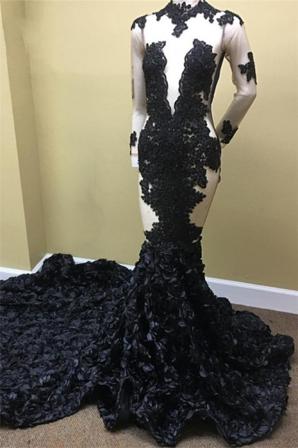 Black Lace Appliques See Through Prom Dresses | Long Train Ruffles Sexy Evening Dress FB0334