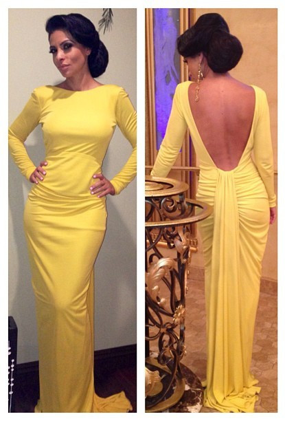 Yellow Mermaid Simple Prom Gowns  Open Back Long Sleeve Sexy Evening Dresses