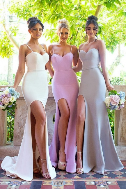 Mermaid Side Slit Dresses For Maid Of Honor  Spaghettis Straps Bridesmaid Dresses