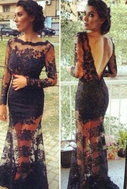 Bateau Lace Black Evening Dresses Long Sleeves Backless  Prom Dresses