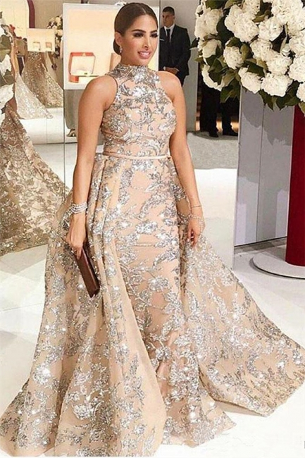 Gorgeous High-Neck Silver Beading Lace Prom Dress Appliques Sleeveless Champagne Formal Dresses Online
