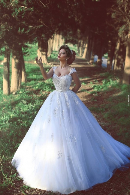 New Arrival Crystal Lace Bridal Gowns Sweep Train Tulle  Wedding Dresses BA3840