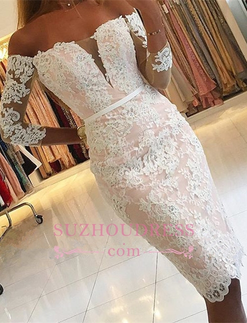 Sexy Appliques Off-the-Shoulder Pink Long-Sleeves Sheath Homecoming Dress BA6859