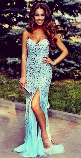 New Arrival Sweetheart Crystal Long Evening Dress with Sequins Sleeveless Sweep Train Prom Gowns