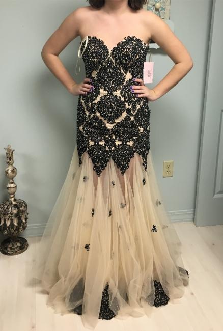 Elegant Sweetheart Tulle Evening Dress with Beadings Mermaid Floor Length Prom Dresses
