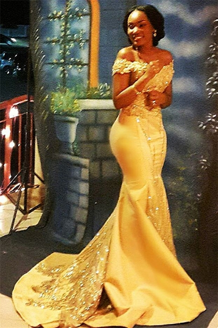 Off The Shoulder Yellow Sparkling Prom Dresses |  Mermaid Beads Sequins Evening Gown  	FB0335