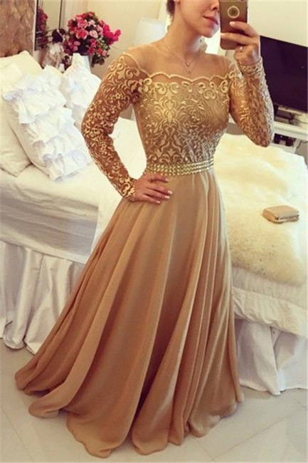 Gold Long Sleeve Evening Dresses  Round Neckline Lace Chiffon Prom Dress  BMT202