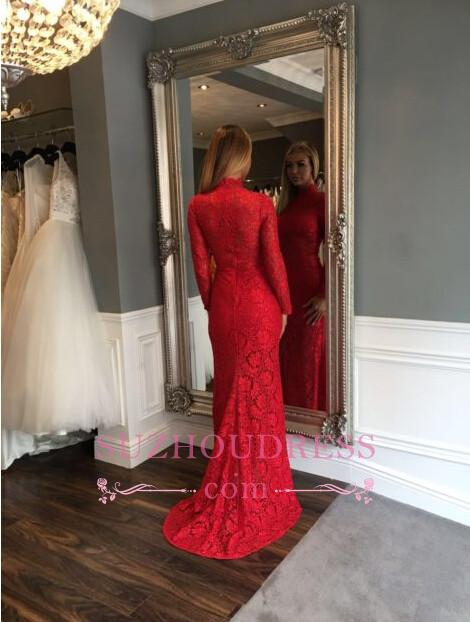 Zipper Sweep-Train Lace High-Neck Sexy Mermaid Red Long-Sleeve Prom Dress