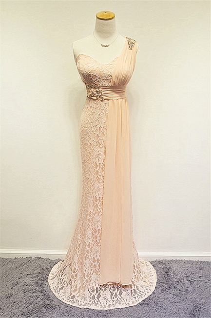 Champagne One Shoulder Lace Crystal Mermaid Prom Dress A-line Popular Zipper Long Evening Gowns