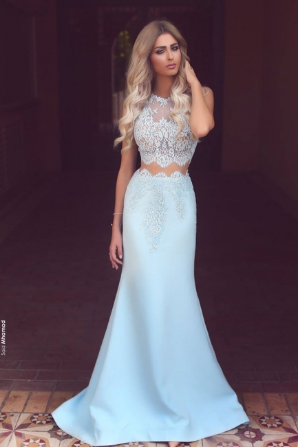Baby Blue Two Piece Evening Dress Long Lace Mermaid  Prom Dresses  BA3914