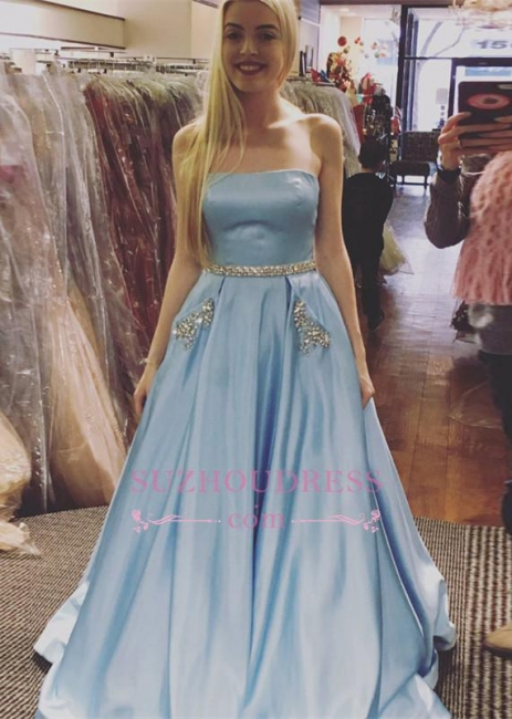 Crystals A-line Strapless Formal Dress Newest Sleeveless Sky Blue Prom Dress