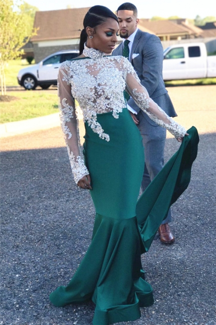 Halter Backless Long Sleeve Prom Dress Lace Appliques Mermaid Dark Green Evening Gown