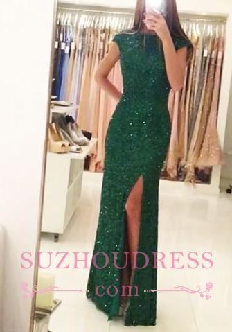 Sexy Backless Sequins Green Sheath-Column Floor-length Evening Dress