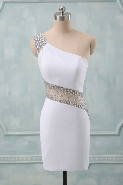 White Homecoming Dresses Sparkly Crystal One Shoulder Cap Sleeves Illusion Backless Beaded Short Party Dresses