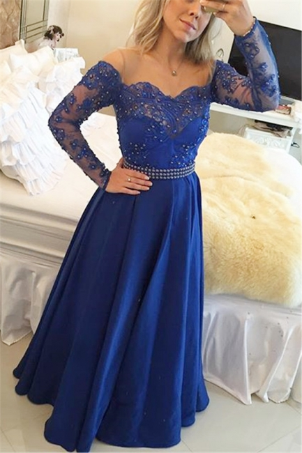 A-Line Long Sleeve Royal Blue  Prom Dress New Arrival Beading Party Dresses